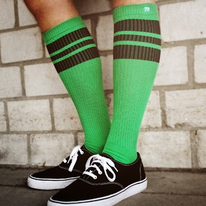 SPIRIT OF 76 The black Blacks on green Hi Socks
